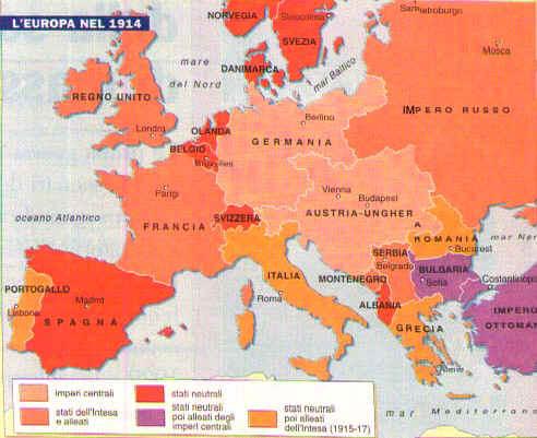 La Prima Guerra Mondiale Cartina.La Prima Guerra Mondiale
